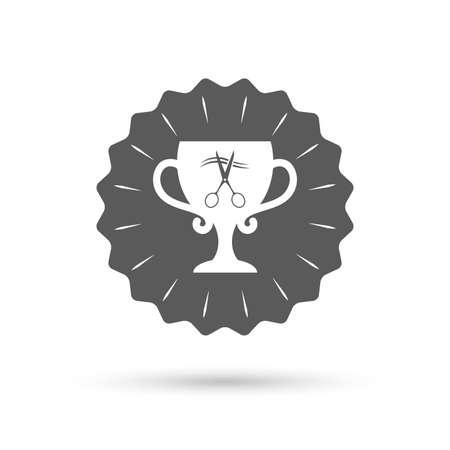 cut hair: Vintage emblem medal. Scissors cut hair sign icon. Hairdresser or barbershop symbol. Winner award cup. Classic flat icon. Vector