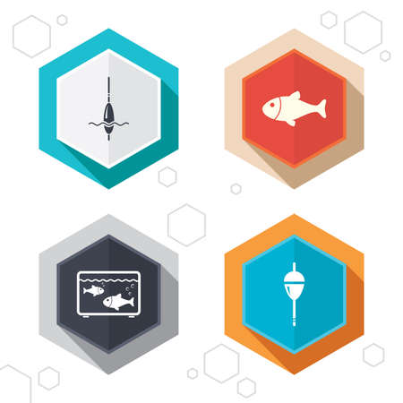 fishhook: Hexagon buttons. Fishing icons. Fish with fishermen hook sign. Float bobber symbol. Aquarium icon. Labels with shadow. Vector Illustration