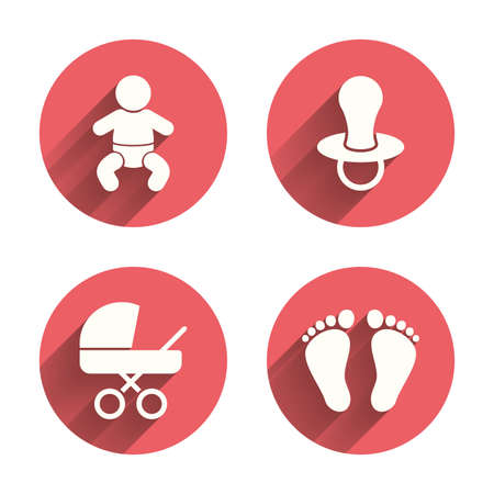 infants: Baby infants icons. Toddler boy with diapers symbol. Buggy and dummy signs. Child pacifier and pram stroller. Child footprint step sign. Pink circles flat buttons with shadow. Vector