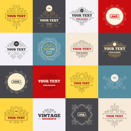 dns: Vintage frames, labels. Top-level internet domain icons. Com, Eu, Net and Org symbols with hand pointer. Unique DNS names. Scroll elements. Vector Illustration