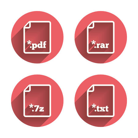 rar: Download document icons. File extensions symbols. PDF, RAR, 7z and TXT signs. Pink circles flat buttons with shadow. Vector Illustration