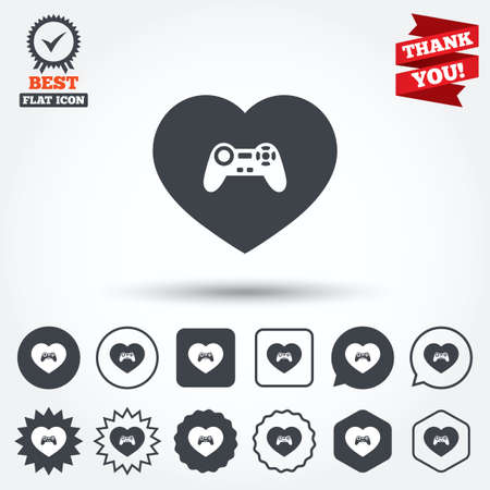 medal like: Joystick sign icon. Like Video game symbol. Circle, star, speech bubble and square buttons. Award medal with check mark. Thank you. Vector Illustration