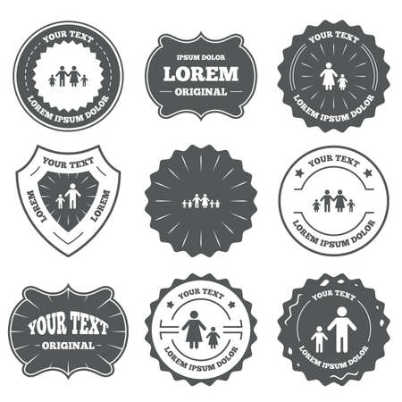 care allowance: Vintage emblems, labels. Large family with children icon. Parents and kids symbols. One-parent family signs. Mother and father divorce. Design elements. Vector