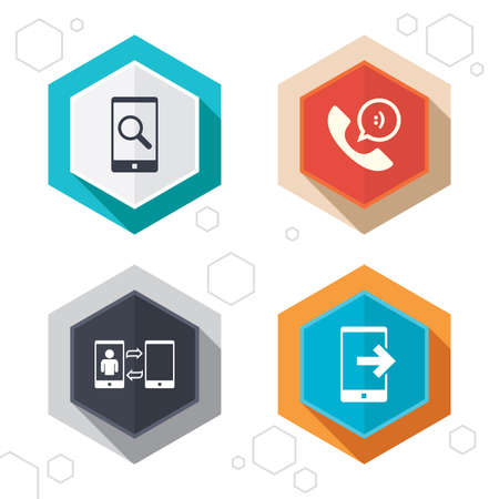 data synchronization: Hexagon buttons. Phone icons. Smartphone with speech bubble sign. Call center support symbol. Synchronization symbol. Labels with shadow. Vector Illustration