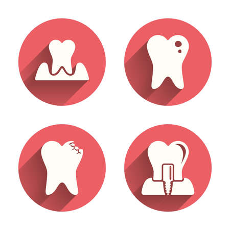 gingivitis: Dental care icons. Caries tooth sign. Tooth endosseous implant symbol. Parodontosis gingivitis sign. Pink circles flat buttons with shadow. Vector