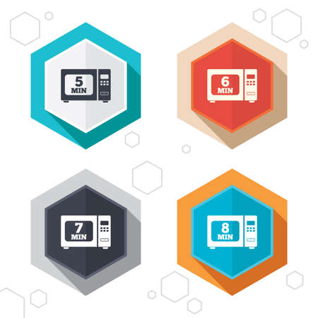 5 6: Hexagon buttons. Microwave oven icons. Cook in electric stove symbols. Heat 5, 6, 7 and 8 minutes signs. Labels with shadow. Vector