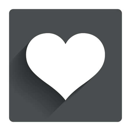 heart attack: Love icon. Heart sign symbol. Gray flat square button with shadow. Modern UI website navigation. Vector Illustration