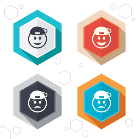 happy sad: Hexagon buttons. Rapper smile face icons. Happy, sad, cry signs. Happy smiley chat symbol. Sadness depression and crying signs. Labels with shadow. Vector