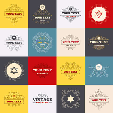 zion: Vintage frames, labels. Star of David sign icons. Symbol of Israel. Scroll elements. Vector