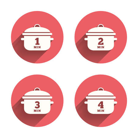 stew: Cooking pan icons. Boil 1, 2, 3 and 4 minutes signs. Stew food symbol. Pink circles flat buttons with shadow. Vector