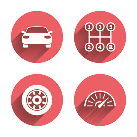 tacometro: Transport icons. Car tachometer and mechanic transmission symbols. Wheel sign. Pink circles flat buttons with shadow. Vector