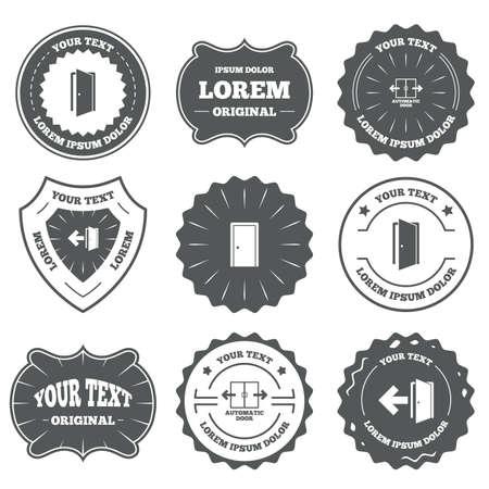 fire exit: Vintage emblems, labels. Automatic door icon. Emergency exit with arrow symbols. Fire exit signs. Design elements. Vector