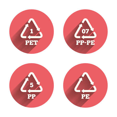 pp: PET 1, PP-pe 07, PP 5 and PE icons. High-density Polyethylene terephthalate sign. Recycling symbol. Pink circles flat buttons with shadow. Vector