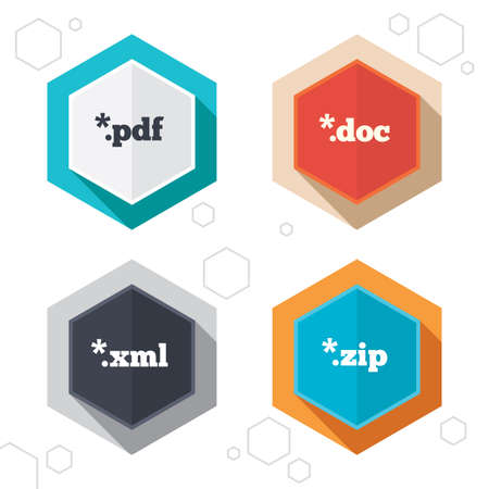 zipped: Hexagon buttons. Document icons. File extensions symbols. PDF, ZIP zipped, XML and DOC signs. Labels with shadow. Vector Illustration