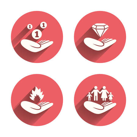 protection incendie: Helping hands icons. Financial money savings, family life insurance symbols. Diamond brilliant sign. Fire protection. Pink circles flat buttons with shadow. Vector