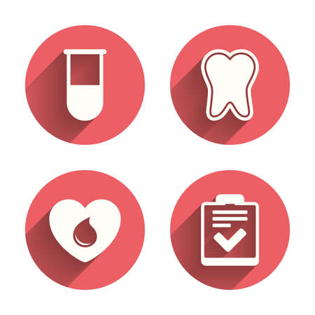 blood: Medical icons. Tooth, test tube, blood donation and checklist signs. Laboratory equipment symbol. Dental care. Pink circles flat buttons with shadow. Vector