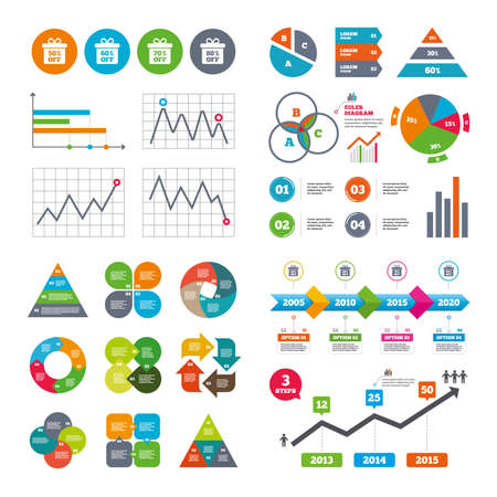 reductions: Business data pie charts graphs. Sale gift box tag icons. Discount special offer symbols. 50%, 60%, 70% and 80% percent off signs. Market report presentation. Vector Illustration