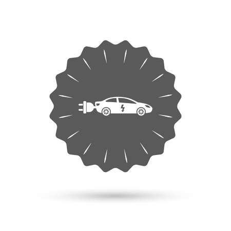 electric vehicle: Vintage emblem medal. Electric car sign icon. Sedan saloon symbol. Electric vehicle transport. Classic flat icon. Vector Vettoriali