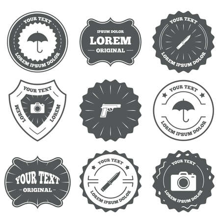 stab: Vintage emblems, labels. Gun weapon icon.Knife, umbrella and photo camera signs. Edged hunting equipment. Prohibition objects. Design elements. Vector