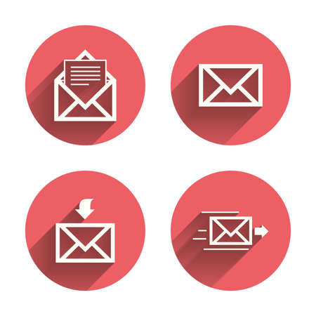 post office: Mail envelope icons. Message document delivery symbol. Post office letter signs. Inbox and outbox message icons. Pink circles flat buttons with shadow. Vector Vectores