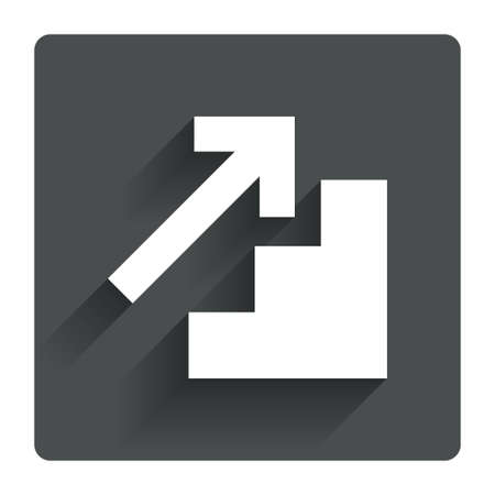 corporate people: Upstairs icon. Up arrow sign. Gray flat square button with shadow. Modern UI website navigation. Vector