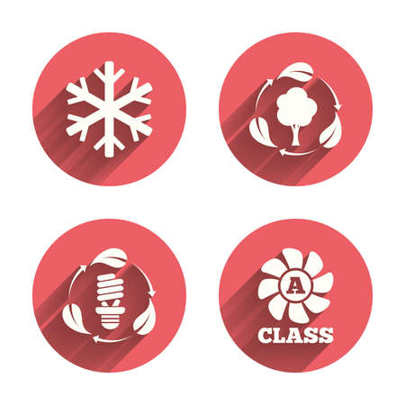 pink lamp: Fresh air icon. Forest tree with leaves sign. Fluorescent energy lamp bulb symbol. A-class ventilation. Air conditioning symbol. Pink circles flat buttons with shadow. Vector