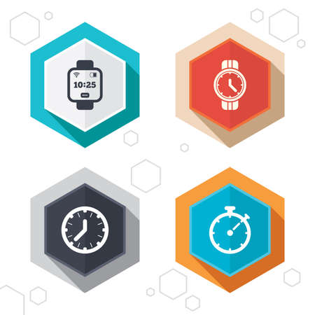 digital clock: Hexagon buttons. Smart watch icons. Mechanical clock time, Stopwatch timer symbols. Wrist digital watch sign. Labels with shadow. Vector Illustration