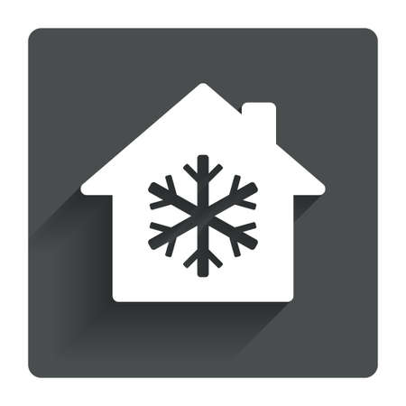 indoors: Air conditioning indoors icon. Snowflake sign. Gray flat square button with shadow. Modern UI website navigation. Vector