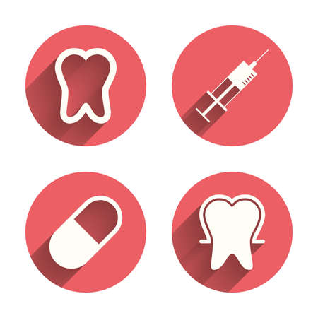 enamel: Tooth enamel protection icons. Medical syringe and pill signs. Medicine injection symbol. Pink circles flat buttons with shadow. Vector