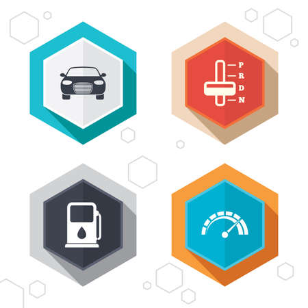 automatic transmission: Hexagon buttons. Transport icons. Car tachometer and automatic transmission symbols. Petrol or Gas station sign. Labels with shadow. Vector Illustration