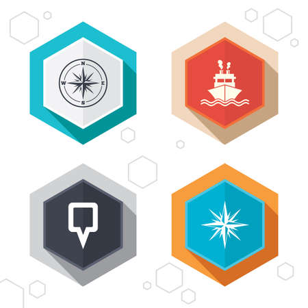 rose silhouette: Hexagon buttons. Windrose navigation compass icons. Shipping delivery sign. Location map pointer symbol. Labels with shadow. Vector