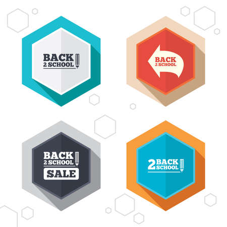 vector studies: Hexagon buttons. Back to school sale icons. Studies after the holidays signs. Pencil symbol. Labels with shadow. Vector