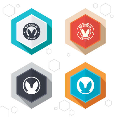 Hexagon buttons. No animals testing icons. Non-human experiments signs symbols. Labels with shadow. Vector Illustration