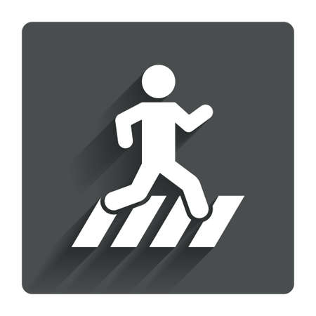 crosswalk: Crosswalk icon. Crossing street sign. Gray flat square button with shadow. Modern UI website navigation. Vector