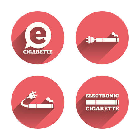 vaporizer: E-Cigarette with plug icons. Electronic smoking symbols. Speech bubble sign. Pink circles flat buttons with shadow. Vector Illustration