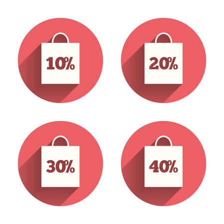 reductions: Sale bag tag icons. Discount special offer symbols. 10%, 20%, 30% and 40% percent discount signs. Pink circles flat buttons with shadow. Vector