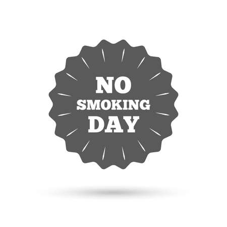 day sign: Vintage emblem medal. No smoking day sign icon. Quit smoking day symbol. Classic flat icon. Vector