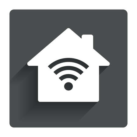 wireless network: Home Wifi sign. Wi-fi symbol. Wireless Network icon. Wifi zone. Gray flat square button with shadow. Modern UI website navigation. Vector