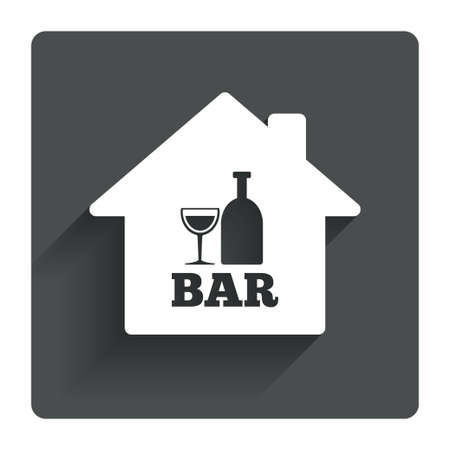 navigation bar: Bar or Pub sign icon. Wine bottle and Glass symbol. Alcohol drink symbol. Gray flat square button with shadow. Modern UI website navigation. Vector
