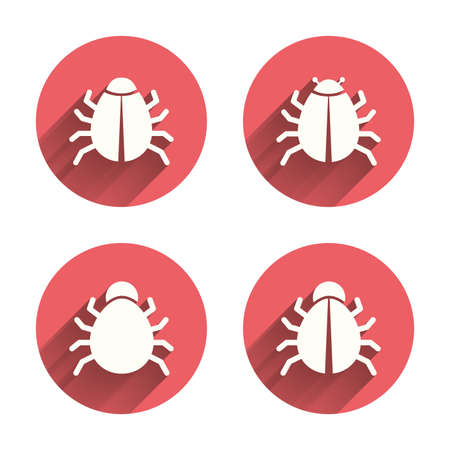 acarus: Bugs vaccination icons. Virus software error sign symbols. Pink circles flat buttons with shadow. Vector Illustration