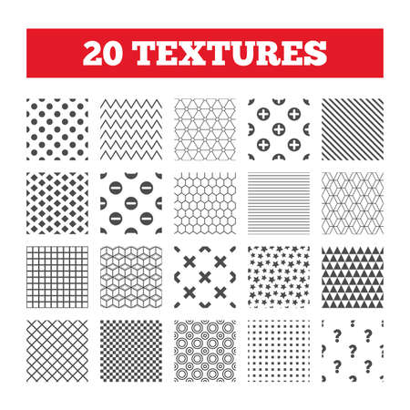 clear out: Seamless patterns. Endless textures. Plus and minus icons. Delete and question FAQ mark signs. Enlarge zoom symbol. Geometric tiles, rhombus. Vector