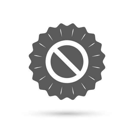 Vintage emblem medal. Blacklist sign icon. User not allowed symbol. Classic flat icon. Vector Illustration