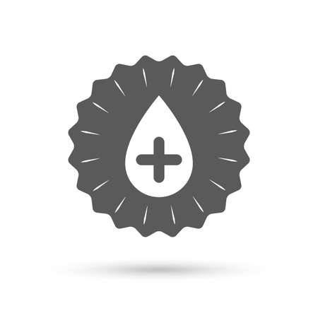 Vintage emblem medal. Water drop with plus sign icon. Softens water symbol. Classic flat icon. Vector