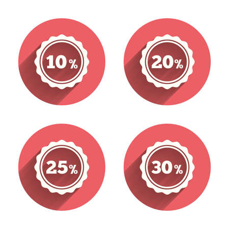 20 to 25: Sale discount icons. Special offer stamp price signs. 10, 20, 25 and 30 percent off reduction symbols. Pink circles flat buttons with shadow. Vector