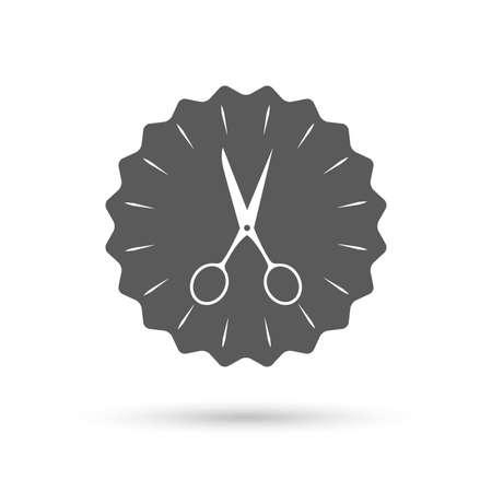disclosed: Vintage emblem medal. Scissors hairdresser sign icon. Tailor symbol. Classic flat icon. Vector Illustration