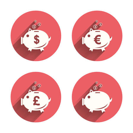 pound coin: Piggy bank icons. Dollar, Euro and Pound moneybox signs. Cash coin money symbols. Pink circles flat buttons with shadow. Vector Illustration