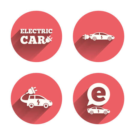 hatchback: Electric car icons. Sedan and Hatchback transport symbols. Eco fuel vehicles signs. Pink circles flat buttons with shadow. Vector