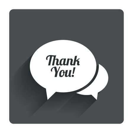 thanks a lot: Speech bubble thank you sign icon. Customer service symbol. Gray flat square button with shadow. Modern UI website navigation. Vector