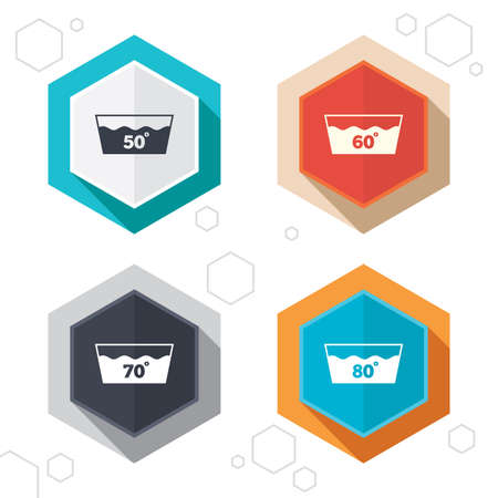 washhouse: Hexagon buttons. Wash icons. Machine washable at 50, 60, 70 and 80 degrees symbols. Laundry washhouse signs. Labels with shadow. Vector