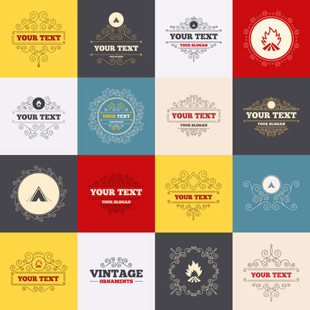 fire place: Vintage frames, labels. Tourist camping tent icons. Fire flame sign symbols. Scroll elements. Vector Illustration
